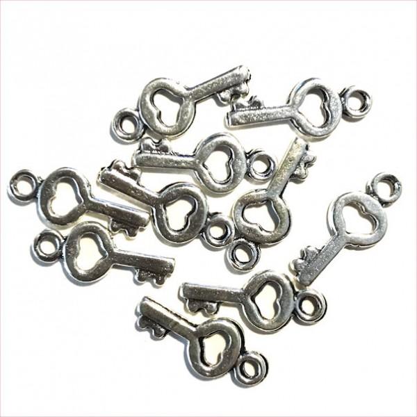 Schmuckanhänger Schlüssel klein, ca.1,5cm, 10Stück